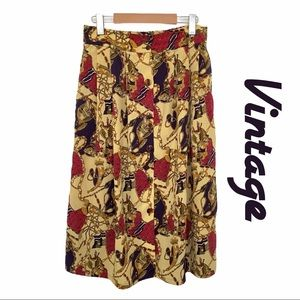 Vintage Button Up Long Skirt with Horse Print